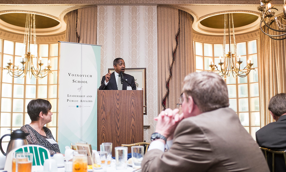 Ohio University President Roderick McDavis adresses attendees during the Ohio University State Government Alumni Luncheon on Tuesday, May 5, 2015.  Photo by Ohio University  /  Rob Hardin