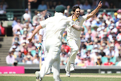 © Licensed to London News Pictures. 04/01/2014.  Mitchell Johnson celebrates after getting a wicket during day 2 of the 5th Ashes Test Match between Australia Vs England at the SCG on 4 January, 2013 in Melbourne, Australia. Photo credit : Asanka Brendon Ratnayake/LNP