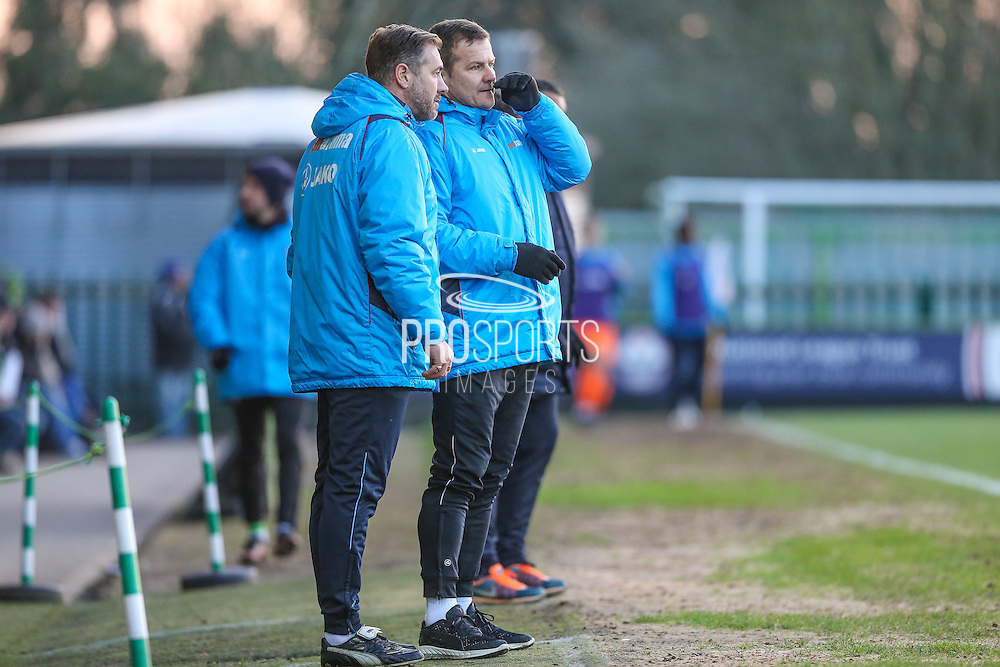Forest Green Rovers manager, Mark Cooper and Forest Green Rovers assistant manager, Scott Lindsey discuss tactics during the Vanarama National League match between Forest Green Rovers and Braintree Town at the New Lawn, Forest Green, United Kingdom on 21 January 2017. Photo by Shane Healey.