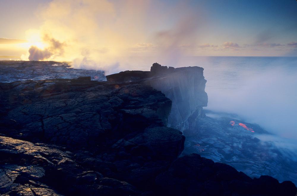Sunrise at Wilipea, Hawaii Volcanoes National Park, ocean lava entry point