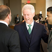 February 9, 2012 - New York, NY : Former U.S. President Bill Clinton, center, shakes hands with American and Irish-American business leaders at the start of a roundtable at New York University on Thursday morning, Feb. 9, 2012..CREDIT: Karsten Moran for The Irish Independent