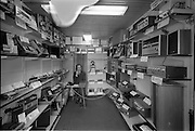 16/07/1970<br /> 07/16/1970<br /> 16 July 1970<br /> Interior of Hi-Fi Stereo, 108 St. Stephens Green, Dublin. Image shows the shop counter (desk) and a range of the radios, recorders, players and speakers (amplifiers) the store sold. Brands include Sony and National.