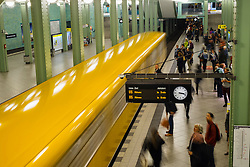 train at platform at Alexanderplatz subway station in Berlin Germany