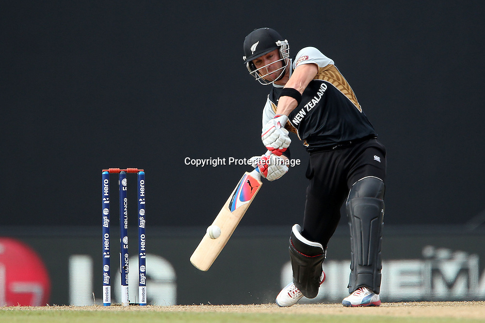 Brendon McCullum hits over the top but is caught by Stuart Broad (Captain) of England  during the ICC World Twenty20 Super 8s match between England and New Zealand held at the  Pallekele Stadium in Kandy, Sri Lanka on the 29th September 2012<br /> <br /> Photo byRon Gaunt/SPORTZPICS/PHOTOSPORT