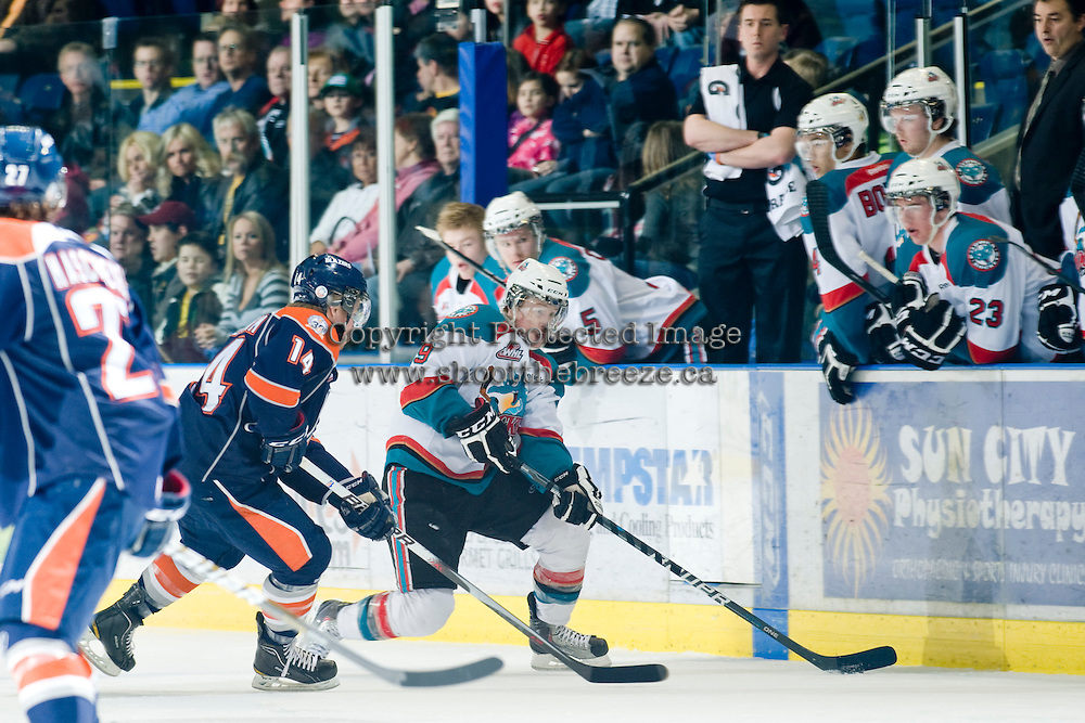 KELOWNA, CANADA, JANUARY 25: Zach Franko #9 of the Kelowna Rockets skates with the puck as the Kamloops Blazers visit the Kelowna Rockets on January 25, 2012 at Prospera Place in Kelowna, British Columbia, Canada (Photo by Marissa Baecker/Getty Images) *** Local Caption ***