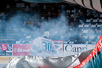 KELOWNA, CANADA - FEBRUARY 5: Michael Herringer #30 of Kelowna Rockets enters the ice against the Spokane Chiefs on February 5, 2016 at Prospera Place in Kelowna, British Columbia, Canada.  (Photo by Marissa Baecker/Shoot the Breeze)  *** Local Caption *** Michael Herringer;