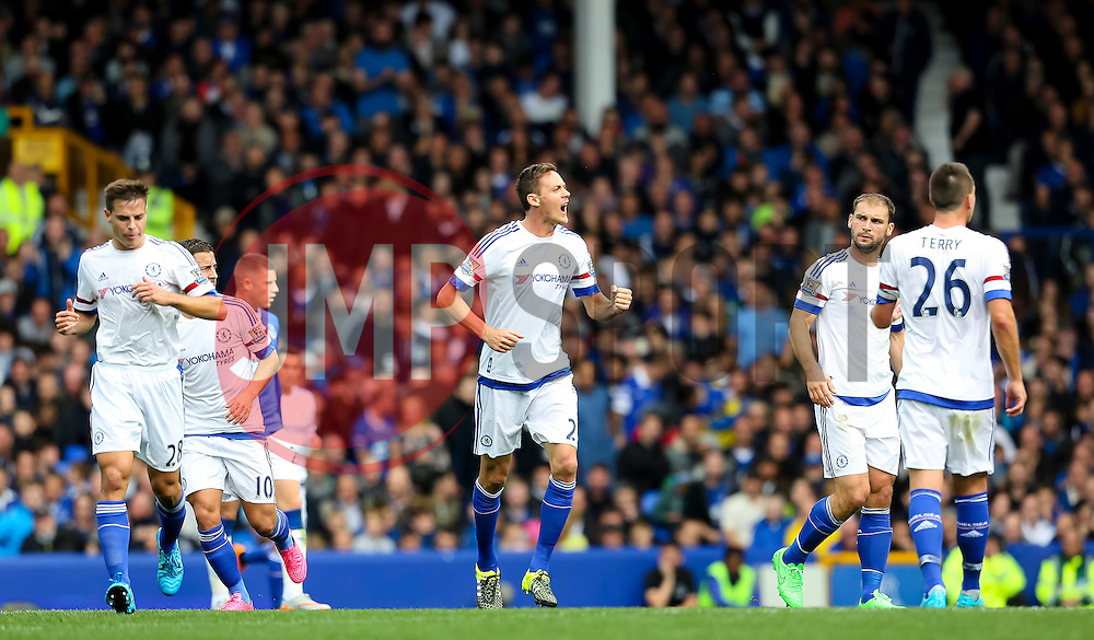 Nemanja Matic of Chelsea celebrates after scoring Chelsea's first goal - Mandatory byline: Matt McNulty/JMP - 07966386802 - 12/09/2015 - FOOTBALL - Goodison Park -Everton,England - Everton v Chelsea - Barclays Premier League