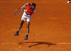 May 9, 2019 - Madrid, Madrid, Spain - Jeremy Chardy of France seen in action against Novak Djokovic of Serbia during day seven of the Mutua Madrid Open at La Caja Magica in Madrid, Spain. (Credit Image: © Manu Reino/SOPA Images via ZUMA Wire)