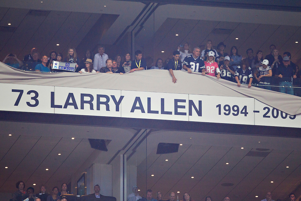 ARLINGTON,  TX - NOVEMBER 6:   Larry Allen of the Dallas Cowboys has his name added to the Ring of Honor at halftime during a game against the Seattle Seahawks at Cowboys Stadium on November 6, 2011 in Arlington, Texas.  The Cowboys defeated the Seahawks 23 to 13.  (Photo by Wesley Hitt/Getty Images) *** Local Caption *** Larry Allen