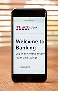Tesco Bank, London, Britain. 7th Novomber 2016: Tesco Online Bank Website and Smartphone App, The Bank was the target of Cyber Crime over the past weekend with some 40,000 suspicious transactions taking place and some accounts being suspended, Tesco Bank was first formed in 1997.  Steve Meddle