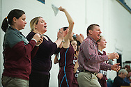 The North Country bench celebrates during the girls basketball game between the North Country Falcons and the Mount Mansfield Cougars at MMU high school on Monday night February 15, 2016 in Jericho. (BRIAN JENKINS/for the FREE PRESS)