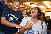 04 NOVEMBER 2008 -- PHOENIX, AZ:   Larry Simpson his wife, Elaine Simpson,  from Mesa, cheer for Barack Obama during his victory at the Democratic party's election watch party at the Wyndham Hotel in Phoenix. PHOTO BY JACK KURTZ