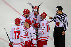 Players of Poland celebrate after scoring first goal for Poland during Ice Hockey match between National Teams of Slovenia and Poland in Round #2 of 2018 IIHF Ice Hockey World Championship Division I Group A, on April 23, 2018 in Budapest, Hungary. Photo by David Balogh / Sportida