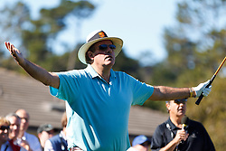 Feb 8, 2012; Pebble Beach CA, USA; Television commentator Chris Berman reacts after his tee shot off the first tee during the celebrity challenge of the AT&T Pebble Beach Pro-Am at Pebble Beach Golf Links. Mandatory Credit: Jason O. Watson-US PRESSWIRE