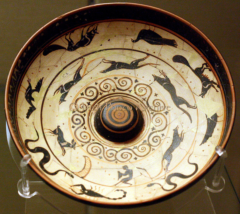 Offering-dish, or 'Phiale' decorated with a black-figure and white-ground. Also featuring friezes of a hare hunt, birds and animals. Athens, circa 500-470 BC.