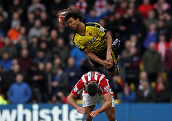 Nathan Ake of Watford out jumps Jonathan Walters of Stoke City to win a header - Mandatory byline: Robbie Stephenson/JMP - 19/03/2016 - FOOTBALL - Vicarage Road - Watford, England - Crystal Palace v Leicester City - Barclays Premier League