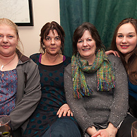 "Locals Ann Marie Howard, and Connie Tyrell along with Canadians Jane and Laura Wukitsch at the launch of the single ""shame on you"" by the residents of Bell Harbour at Daly's Bar on Friday night"