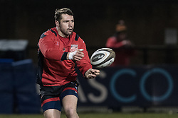 Dragons' Charlie Davies during the pre match warm up.<br /> <br /> Photographer Simon Latham/Replay Images<br /> <br /> Guinness PRO14 - Dragons v Edinburgh - Friday 23rd February 2018 - Eugene Cross Park - Ebbw Vale<br /> <br /> World Copyright © Replay Images . All rights reserved. info@replayimages.co.uk - http://replayimages.co.uk