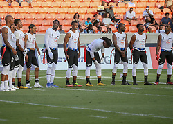 July 19, 2018 - Houston, TX, U.S. - HOUSTON, TX - JULY 19:  Fighting Cancer players line up for the singing of the National Anthem during the American Flag Football League Ultimate Final game between the Fighting Cancer and Godspeed on July 19, 2018 at BBVA Compass Stadium in Houston, Texas.  (Photo by Leslie Plaza Johnson/Icon Sportswire) (Credit Image: © Leslie Plaza Johnson/Icon SMI via ZUMA Press)