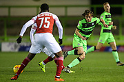 Forest Green Rovers Theo Archibald(18) passes the ball forward during the EFL Trophy group stage match between Forest Green Rovers and U21 Arsenal at the New Lawn, Forest Green, United Kingdom on 7 November 2018.