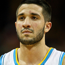 January 29, 2012; New Orleans, LA, USA; New Orleans Hornets point guard Greivis Vasquez (21) against the Atlanta Hawks during a game at the New Orleans Arena. The Hawks defeated the Hornets 94-72.  Mandatory Credit: Derick E. Hingle-US PRESSWIRE