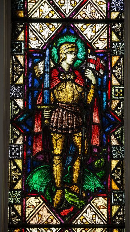 A stained glass image of St. George, martyr and patron of England, from a window at Immaculate Conception Church in Luxemburg, Wis. (Sam Lucero photo)
