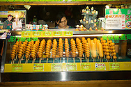 A variety of corn dogs for sale at the Liuhe Night Market ???? in Kaohsiung, Taiwan.