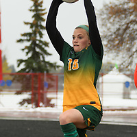 2nd year defender Cassie Longmuir (18) of the Regina Cougars in action during the Women's Soccer  road trip to Saskatoon on October 9 at Griffiths Stadium. Credit: Arthur Ward/Arthur Images