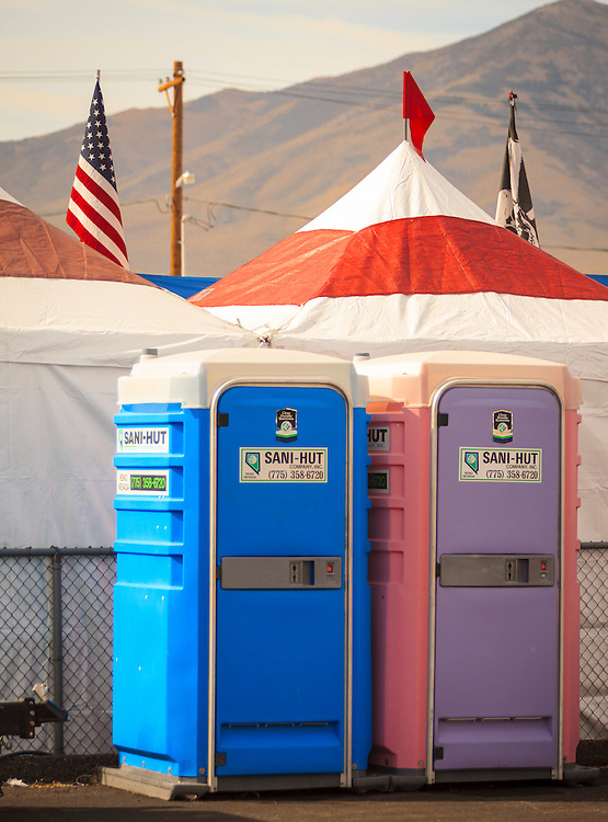 "The ""his 'n her"" portable toilets at the 2012 Reno Air Races."
