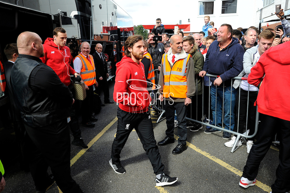 Liverpool midfielder Joe Allen arriving before the Barclays Premier League match between Bournemouth and Liverpool at the Goldsands Stadium, Bournemouth, England on 17 April 2016. Photo by Graham Hunt.