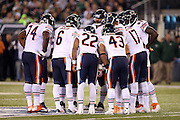The Chicago Bears offense huddles during the NFL week 3 regular season football game against the New York Jets on Monday, Sept. 22, 2014 in East Rutherford, N.J. The Bears won the game 27-19. ©Paul Anthony Spinelli
