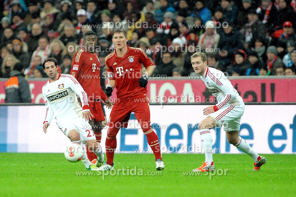 28.10.2012, Allianz Arena, Muenchen, GER, 1. FBL, FC Bayern Muenchen vs Bayer 04 Leverkusen, 9. Runde, im Bild V.l.n.r.: Gonzalo CASTRO (Bayer 04 Leverkusen), David ALABA (FC Bayern Muenchen), Bastian SCHWEINSTEIGER (FC Bayern Muenchen) und Andre SCHUERRLE (Bayer 04 Leverkusen) // during the German Bundesliga 9th round match between FC Bayern Munich and Bayer 04 Leverkusen at the Allianz Arena, Munich, Germany on 2012/10/28,, , , , . EXPA Pictures © 2012, PhotoCredit: EXPA/ Eibner/ Wolfgang Stuetzle..***** ATTENTION - OUT OF GER *****