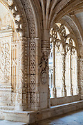 Stone pillars arches and cloisters of famous Monastery of Jeronimos - Mosteiro  dos Jeronimos in Lisbon, Portugal