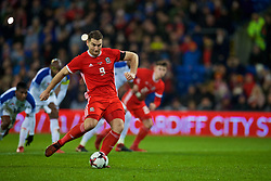 CARDIFF, WALES - Tuesday, November 14, 2017: Wales' Sam Vokes sees his penalty saved during the international friendly match between Wales and Panama at the Cardiff City Stadium. (Pic by David Rawcliffe/Propaganda)
