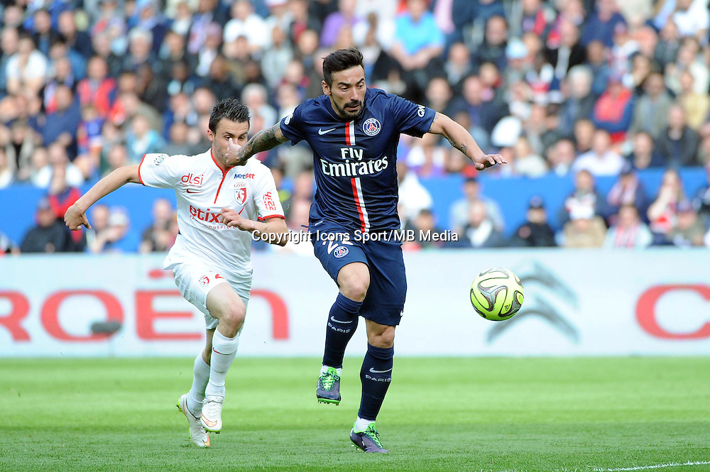 Ezequiel LAVEZZI / Sebastien CORCHIA - 25.04.2015 - Paris Saint Germain / Lille - 34eme journee de Ligue 1<br />