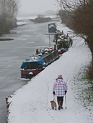 © Licensed to London News Pictures. 05/02/2012. Pitstone, UK. A woman walking her dog along a frozen canal near the town of Pitstone in Buckinghamshire, on February 5th, 2012 following heavy snowfall.. Photo credit : Ben Cawthra/LNP