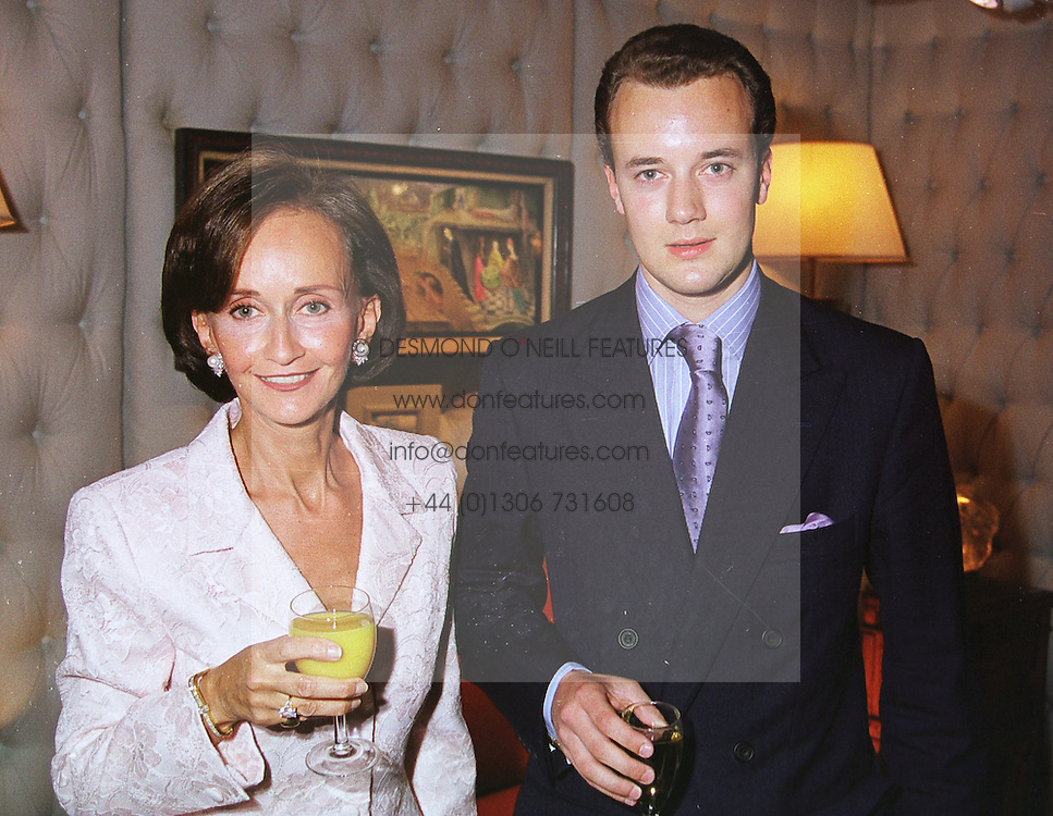YVONNE, MARCHIONESS OF BRISTOL and her son the MARQUESS OF BRISTOL, at a gala evening in London on 9th June 1999.MSZ 31
