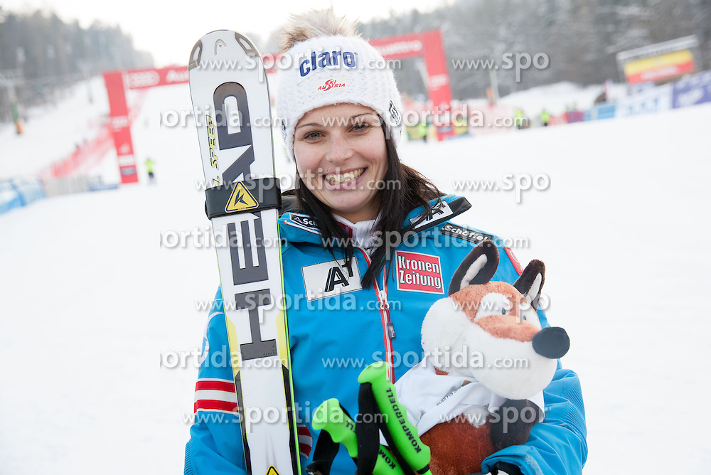 "FENNINGER Anna of Austria after she placed third during the 2nd Run of FIS Alpine Ski World Cup 7th Ladies' Giant Slalom race named ""49th Golden Fox 2013"", on January 26, 2013 in Mariborsko Pohorje, Maribor, Slovenia. (Photo By Vid Ponikvar / Sportida.com)"