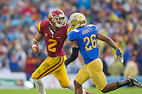 17 October 2012: Wide receiver (2) Robert Woods of the USC Trojans runs a route while being covered by (26) Andrew Abbott of the UCLA Bruins during the second half of UCLA's 38-28 victory over USC at the Rose Bowl in Pasadena, CA.