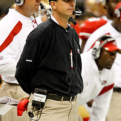 August 12, 2011; New Orleans, LA, USA; San Francisco 49ers head coach Jim Harbaugh during the second half of a preseason game against the New Orleans Saints at the Louisiana Superdome. The New Orleans Saints defeated the San Francisco 49ers Mandatory Credit: Derick E. Hingle