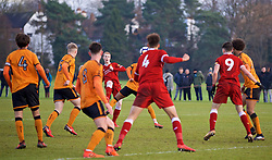 WOLVERHAMPTON, ENGLAND - Tuesday, December 19, 2017: Liverpool's substitute Glen McAuley scores an equalising goal during an Under-18 FA Premier League match between Wolverhampton Wanderers and Liverpool FC at the Sir Jack Hayward Training Ground. (Pic by David Rawcliffe/Propaganda)