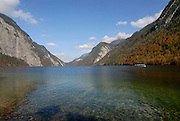 The very famous  Königssee in the background the Watzman, Berchtesgadener land National park, Bavaria, Germany