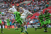 Cole Stockton (Tranmere Rovers) and Mark Ellis (Forest Green Rovers) miss the header that goes across the Forest Green Rovers' box during the Vanarama National League Play Off Final match between Tranmere Rovers and Forest Green Rovers at Wembley Stadium, London, England on 14 May 2017. Photo by Mark P Doherty.