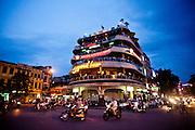 Facade of the Legend Beer building at dusk, Hoan Kiem, Hanoi, Vietnam, Southeast Asia.