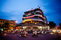 Facade of the Legend Beer building at dusk, Hoan Kiem, Hanoi, Vietnam, Southeast Asia.