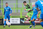 Forest Green Rovers Jack Aitchison(29), on loan from Celtic passes the ball forward during the The FA Cup match between Forest Green Rovers and Billericay Town at the New Lawn, Forest Green, United Kingdom on 9 November 2019.