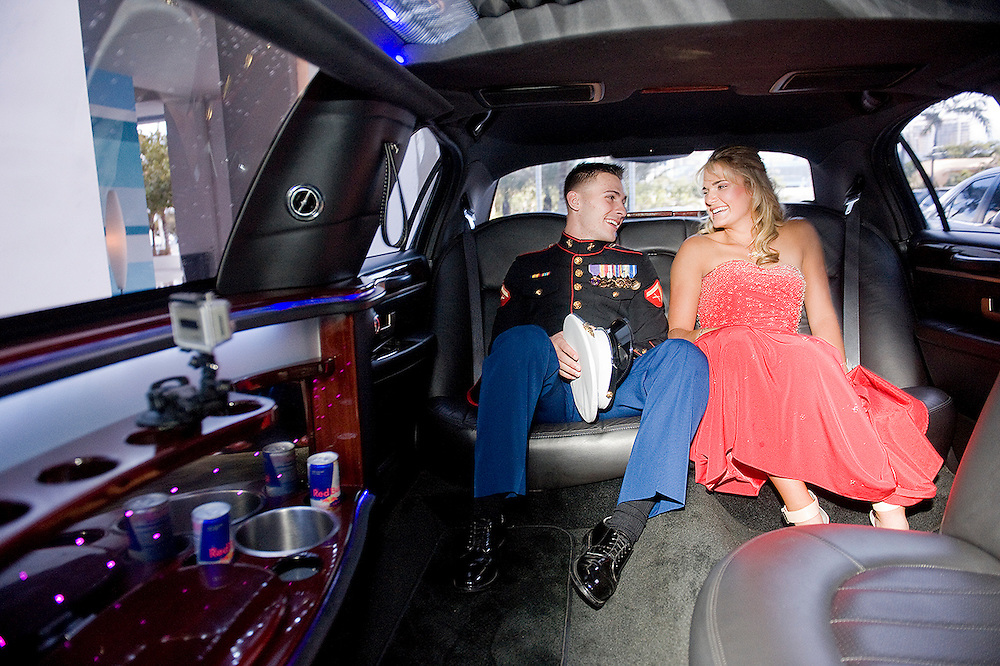 FRIDAY MAY 18, 2012, FORT LAUDERDALE, FL - LPGA golfer Lexi Thompson and US Marine LCpl Mark Scott  chat in the back of their limo before heading to dinner at The W in Fort Lauderdale, FL. Thompson held a contest for US servicemen to take her to prom. Scott won the contest and took her on a date before the prom. PHOTO BY JOSH RITCHIE