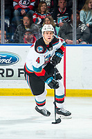 KELOWNA, BC - MARCH 7: Devin Steffler #4 of the Kelowna Rockets skates with the puck during second period against the Lethbridge Hurricanes at Prospera Place on March 7, 2020 in Kelowna, Canada. (Photo by Marissa Baecker/Shoot the Breeze)