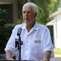 Chairman of the memorial foundation, Henry Dodge, spoke Saturday at Fan Appreciation day at Elvis Presley Birthplace