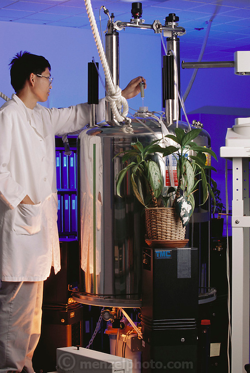 Shaman Pharmaceutical in South San Francisco, California processes plants for concentrated extracts for new medicines.  Dr. Jian Lu Chen (Model Released). Nuclear mag. Resonance identifies plant molecules. MODEL RELEASED (1997)